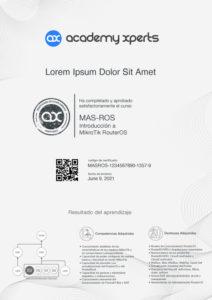 Certificado Demostrativo del Curso MAS-ROS