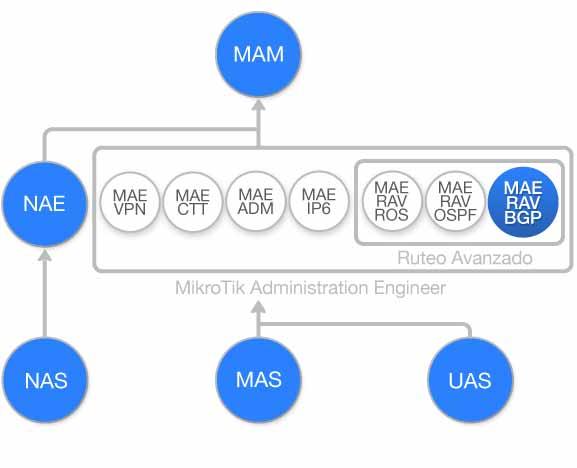 Diagrama de flujo Curso Ruteo Avanzado BGP con MikroTik RouterOS (MAE-RAV-BGP1)