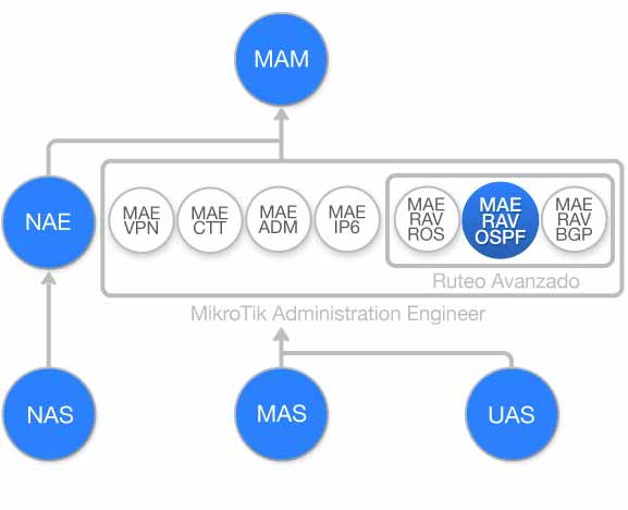 Diagrama de flujo Curso Ruteo Avanzado OSPF con MikroTik RouterOS (MAE-RAV-OSPF1)