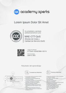 Certificado demo del curso MAE-CTT-QoS del curso de Calidad de Servicio