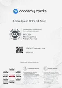 Modelo de Certificado Asistencia y Participacion en Curso MikroTik MTCNA