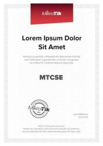 Modelo de Certificado Curso Certificacion MikroTik MTCSE