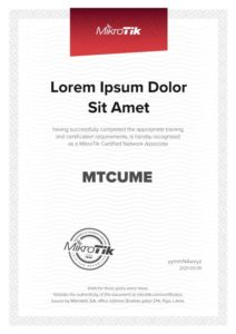 Modelo de Certificado Curso Certificacion MikroTik MTCUME