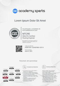 Modelo de Certificado Asistencia y Participacion en Curso MikroTik MTCRE
