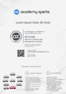 Modelo de Certificado Asistencia y Participacion en Curso MikroTik MTCUME