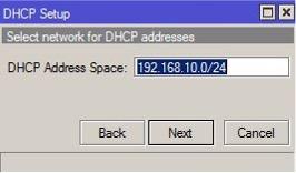 DHCP MikroTIk Setup Dirección de red