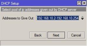 DHCP Setup MikroTik pool de direcciones DHCP