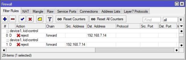 Kid Control MikroTik Firewall