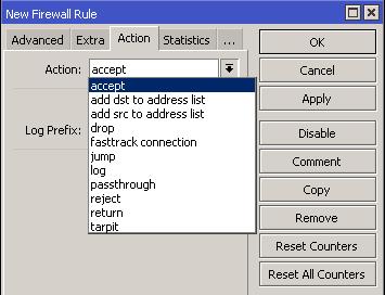 MikroTik Firewall Filter Actions