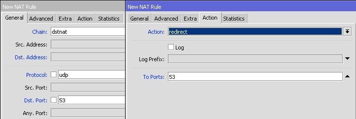 MikroTik Firewall NAT action redirect UDP