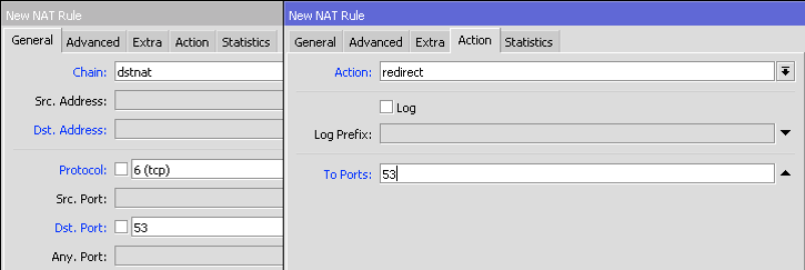 MikroTik Firewall NAT action redirect