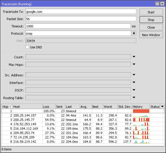 MikroTik heramienta troubleshooting traceroute