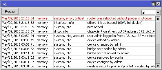 MikroTik log del sistema