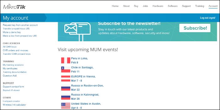 MikroTik website login cuenta usuario