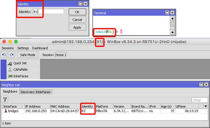 Wimbox System Identity - identidad del router en MikroTik