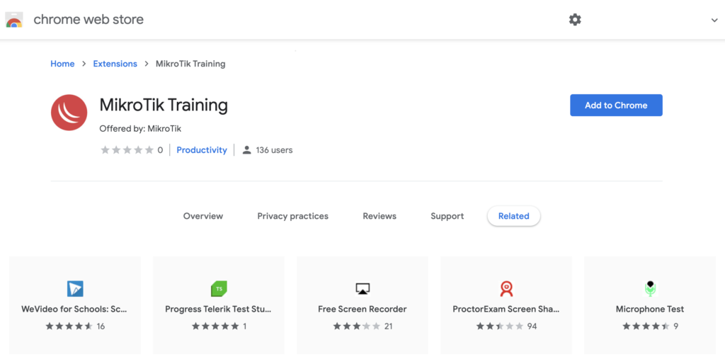 MikroTik MTCOPS extension de Google Chrome para Examen remoto en linea