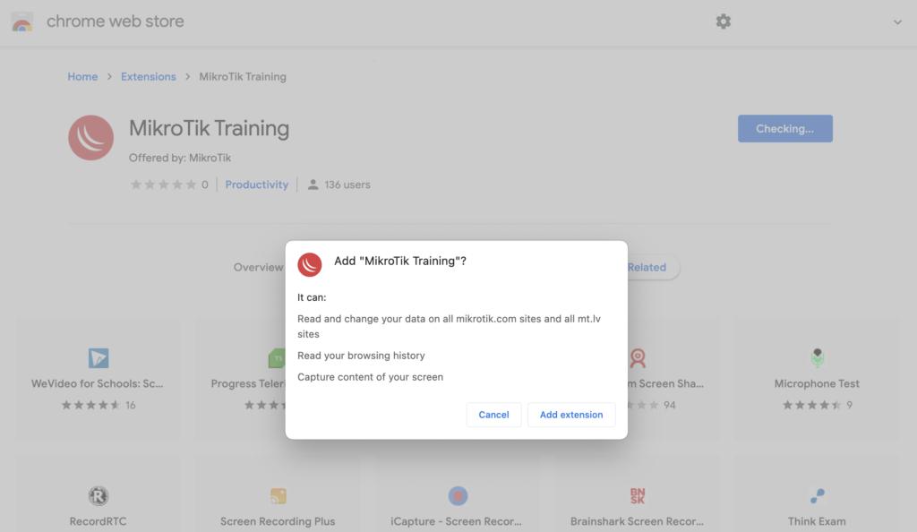 MikroTik MTCOPS extension de Google Chrome para Examen remoto en linea confirmacion