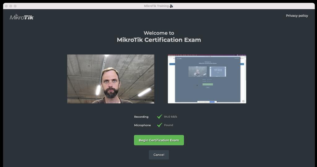 Ventana de inicio de examen de certificacion